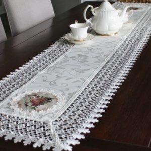 NEW Table Runner FLORAL BIRDS & LACE, Long